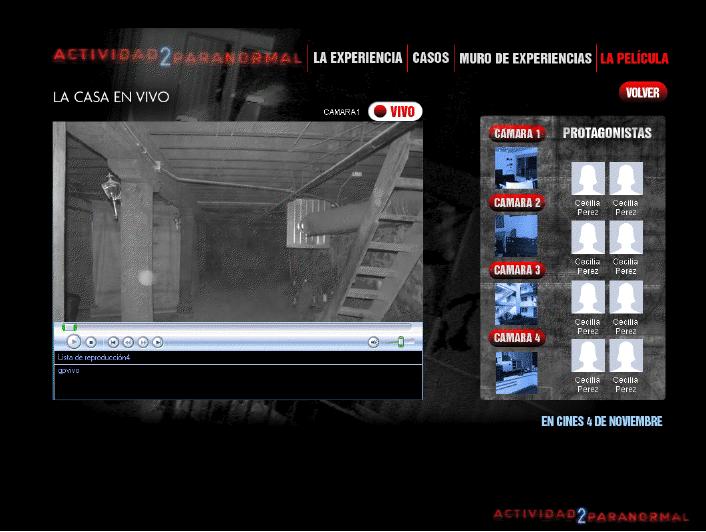 Acción promocional digital para Paranormal Activity