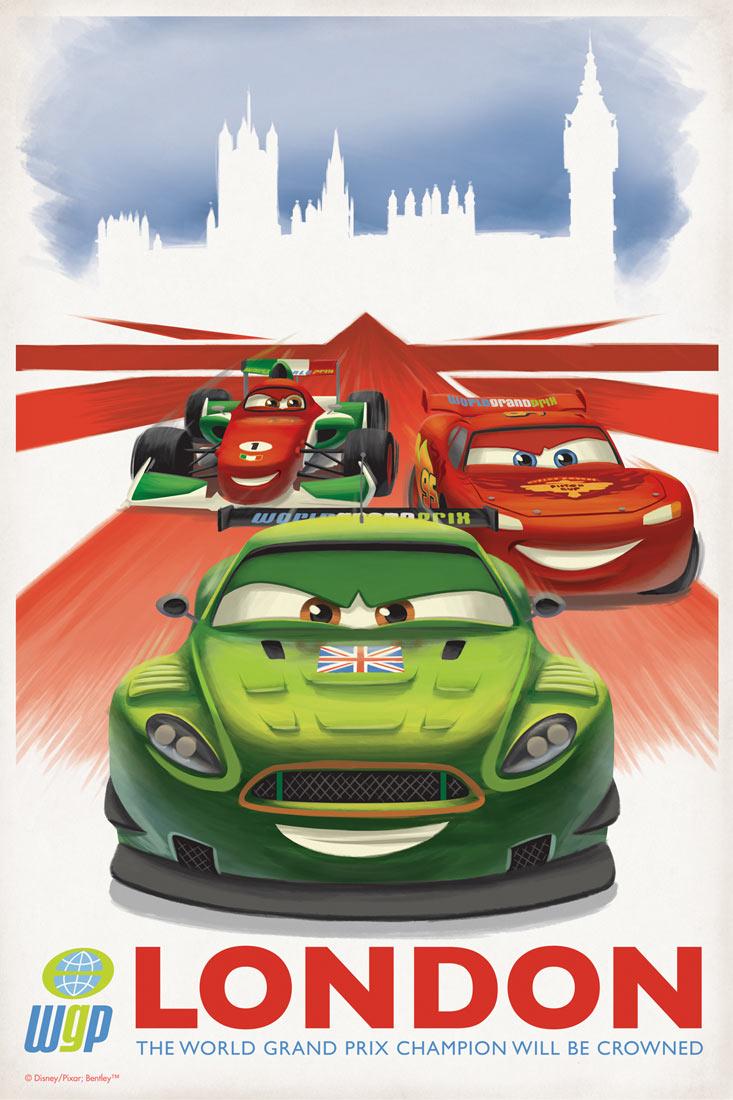 Cars 2 Poster Vintage London 2
