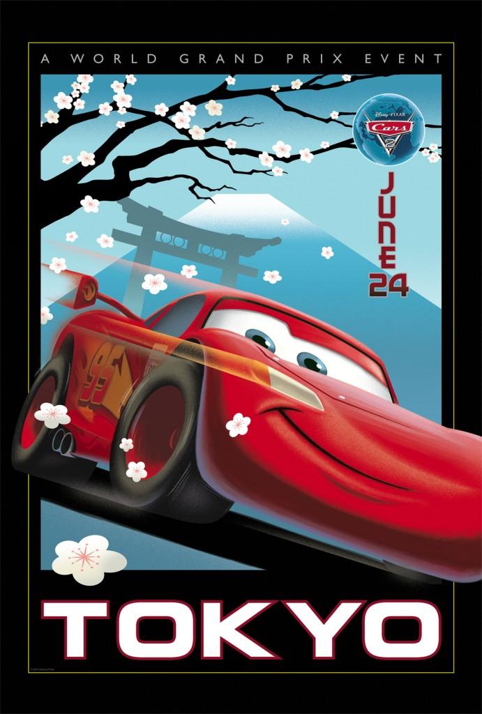 Cars 2 Poster Vintage Tokyo