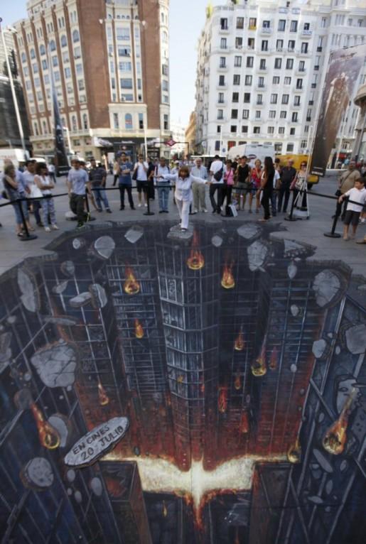 Street Art en 3D para promocionar el último filme de Batman por C. Nolan